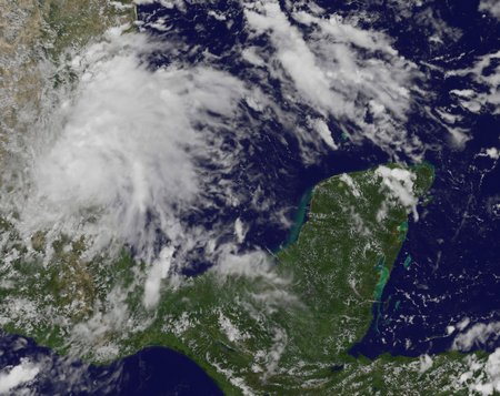 Tropical Depression Eight in the southwestern Gulf of Mexico at 2:31 p