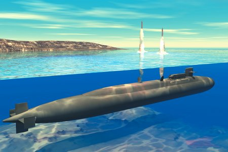 Ohio-class submarine launches Trident ICBMs
